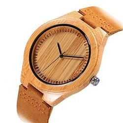 Cucol Wrist Watches Men's Bamboo Wooden With Brown