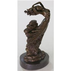 "Seductive Dancer Girl in the Wind Bronze Sculpture Statue by Vitaleh 12"" x 7"""