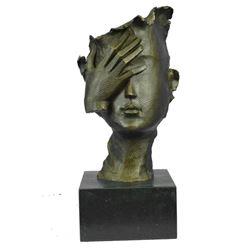 "Salvador Dali Tribute Bronze Face Mask Bust Sculpture 15"" x 7"""