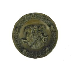 "Bronze Wall Sculpture Portrait of Greek Goddess Minerva w/ Horse 8.5"" x 8.5"""