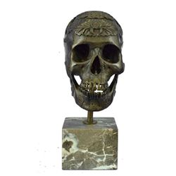 "Dia De Los Muertos Mexican SKULL Bronze Metal Sculpture Statue on Marble Base 14"" x 10"""