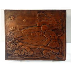 Vintage WWII Miltary Tank & Soldiers Hammered Copper Decorative Tile