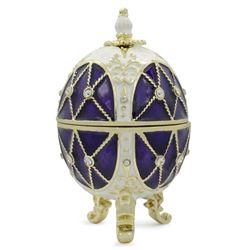 """Faberge Inspired 2.75"""" Trellis on Purple Enamel Royal Inspired Russian Easter Egg"""