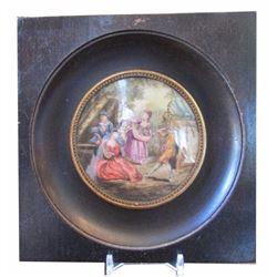 Antique Signed Miniature Painting on Porcelain, Royal Court Scene