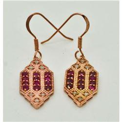 Art Deco Ruby Diamond Rose Gold Earrings
