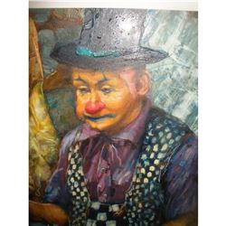 Mid 20thc Russian Signed Painting, Clown Juggler