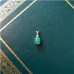 Emerald Cabochon & Gold Over Sterling Pendant