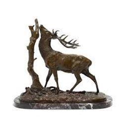 Elk by Tree By P. J. Mene