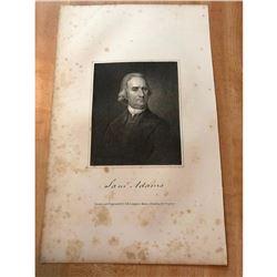 19thc Steel Engraving, Samual Adams, Massachusetts Signer of Declaration of Independance