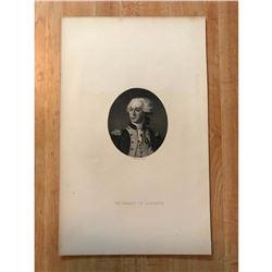 19thc Steel Engraving, The Marquis De La Fayette