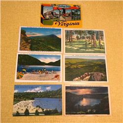 Grouping of Vintage Linen Travel Postcards, Virginia