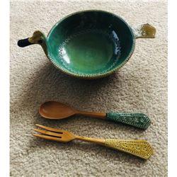 Large Mid Century Modern Ceramic Set, Bitossi Duck Serving Bowl & Utensils