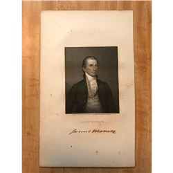 19thc Steel Engraving, James Monroe, 5th President of The United States