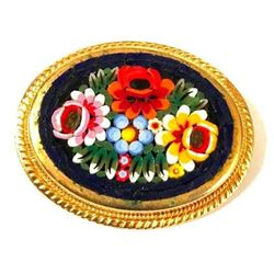 Italian Micro Mosaic Floral Brooch Pin
