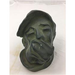 Signed Alabaster Bust Sculpture, Depression Era Man