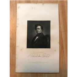 19thc Steel Engraving of Franlin Pierce, 14th President of The United States