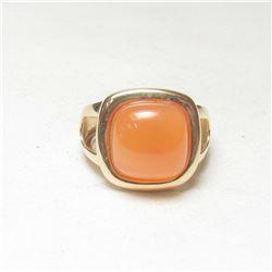 Modern 4.25ct Orange Carnelian 14kt Gold Ring