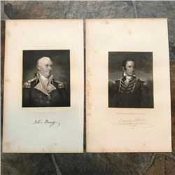 19thc Steel Engravings, Revolutionary War Naval Officers, Commodores