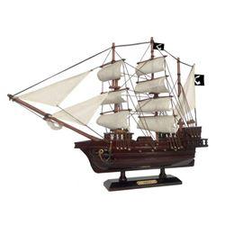 "Wooden Thomas Tew's Amity White Sails Pirate Ship Model 20"""