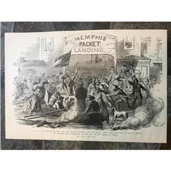 19thc Civil War Engraving, Surrender of New Orleans Levee, Memphis Packet