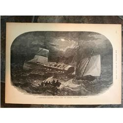 19thc Civil War Engraving, Sinking of Confederate Schooner By Federal Schooner