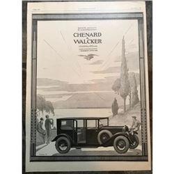 1920's French Automobile Car Advertisement, Chenard Walcker