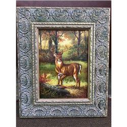 20thc Oil Painting, Hunt Scene, Woodland Stag Deer