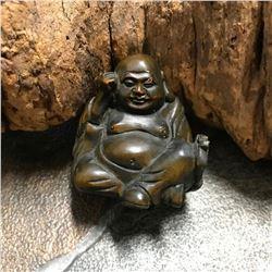 Signed Japanese Boxwood Netsuke Sculpture, Devout