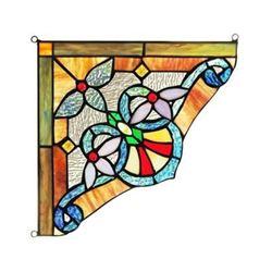 "Victorian Tiffany-glass Window Panel 10"" Wide"
