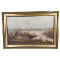 Duck Hunters Oil On Canvas Painting