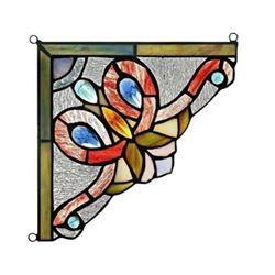 "VICTORIE Victorian Tiffany-glass Window Panel 8"" Wide"