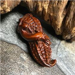 Japanese Boxwood Okimono Carving, Tiny Dragon & Peanut