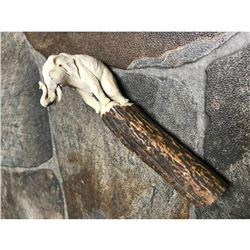 Hand Carved Shed Deer Antler, African Elephant Cane Dagger Handle