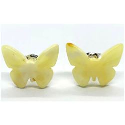 Natual Baltic Egg Yolk Amber Butterfly Earrings