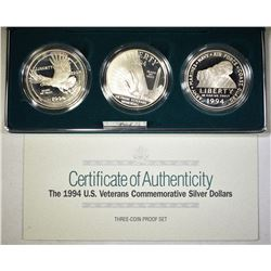 1994 U.S. VETS PROOF 3-COIN SILVER DOLLAR SET