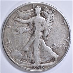 1938-D WALKING LIBRTY HALF DOLLAR, VF