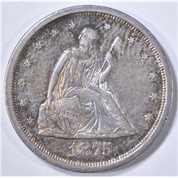 1875-S SEATED 20-CENT PIECE  NICE ORIG UNC