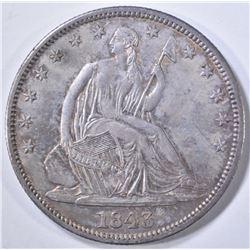 1843 SEATED LIBERTY HALF DOLLAR  ORIG UNC