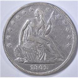 1862 SEATED LIBERTY HALF DOLLAR  AU