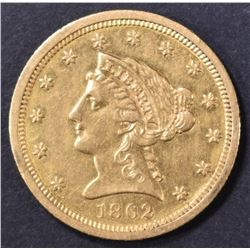1862 $2.5 GOLD LIBERTY  CH AU