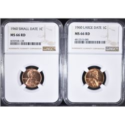 1960-SD & LD LINCOLN CENTS, NGC MS-66 RED
