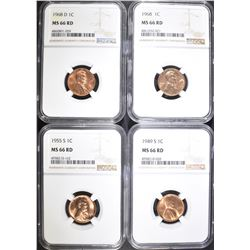 1949-S, 55-S, 68-P&D LINCOLN CENTS, NGC MS-66 RED