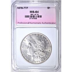 1878 7TF REV. OF 79 MORGAN DOLLAR, PNA CH/ GEM BU