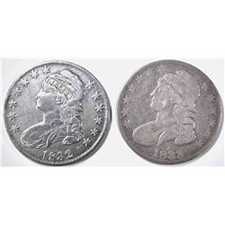 1832 VF/XF & 1833 VG BUST HALF DOLLARS