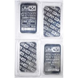 4-JOHNSON MATTHEY ONE OUNCE SILVER BARS