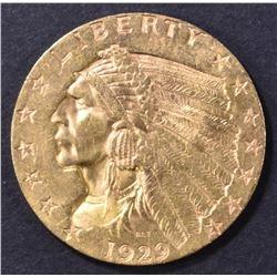 1929 $2.5 GOLD INDIAN AU/BU