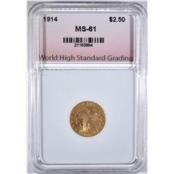 1914 $2.50 GOLD INDIAN WHSG BU