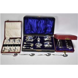 "Selection of sterling silver including a six piece boxed ""Reining Beauty"" spoon set, twelve piece Bi"