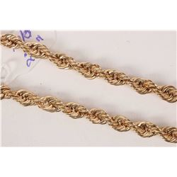 "Ladies 10kt yellow gold 20"" twist rope chain necklace"