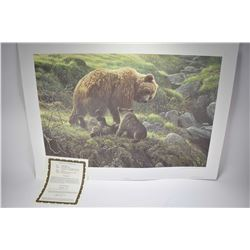 "Unframed limited edition print titled ""Grizzly and Cubs"" pencil signed by artist Robert Bateman, 459"